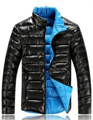 Unisex Colorful Lapel Thick Slim Winter Coat Jacket