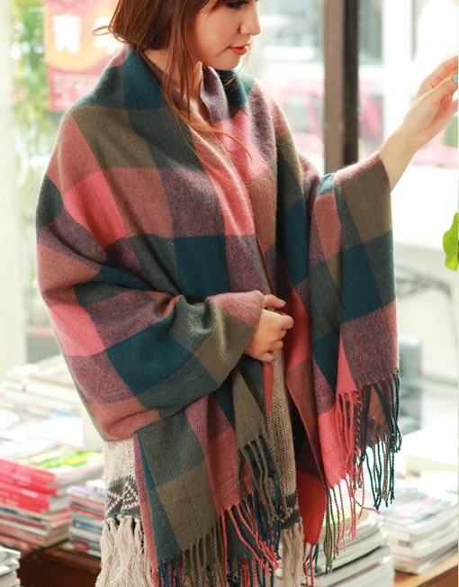 8a8df71a9 Cashmere Scottish Plaid Design Wool Shawl Scarf - Winter Clothes