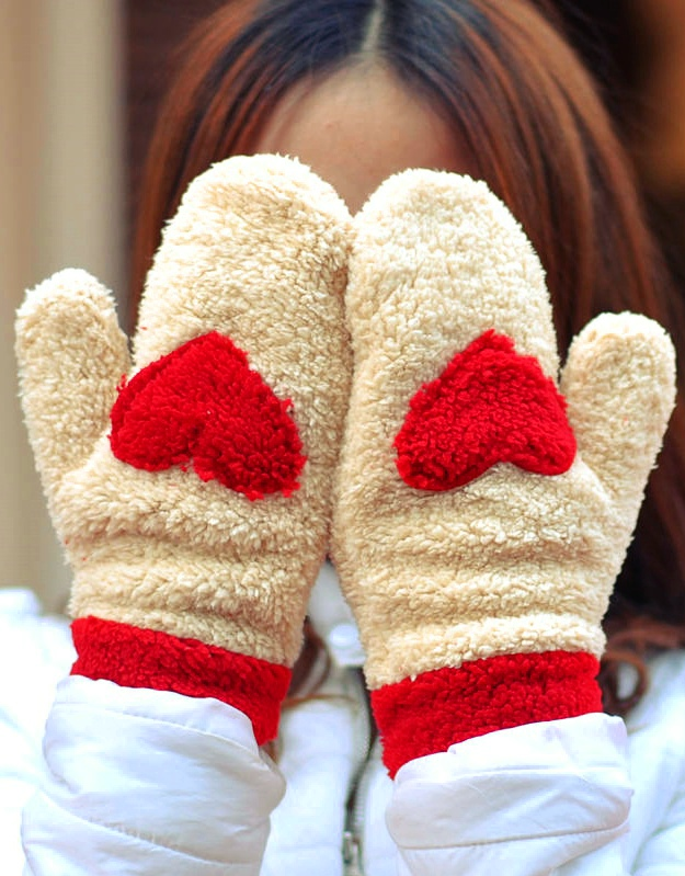 Well known Ladies Cute Super Warm Wool Winter Mitten Glove with Love Shape  FA73