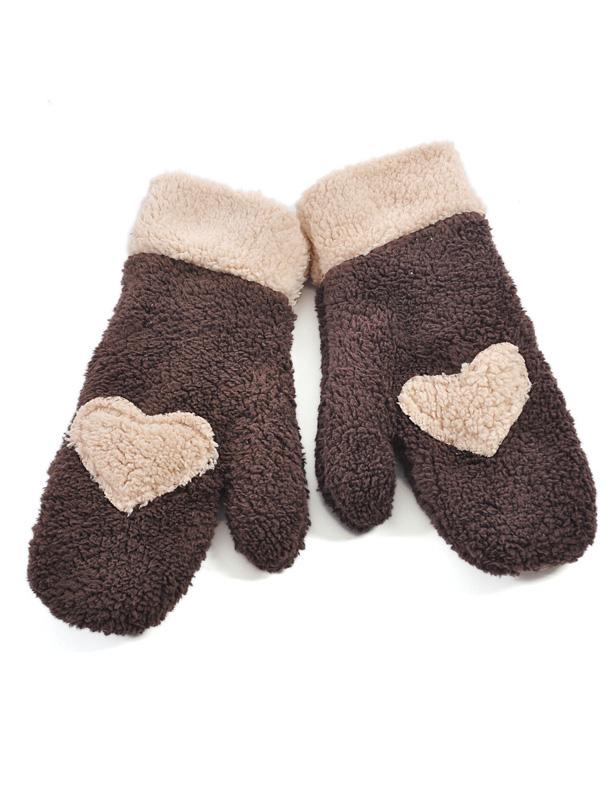 Ladies Cute Super Warm Wool Winter Mitten Glove With Love