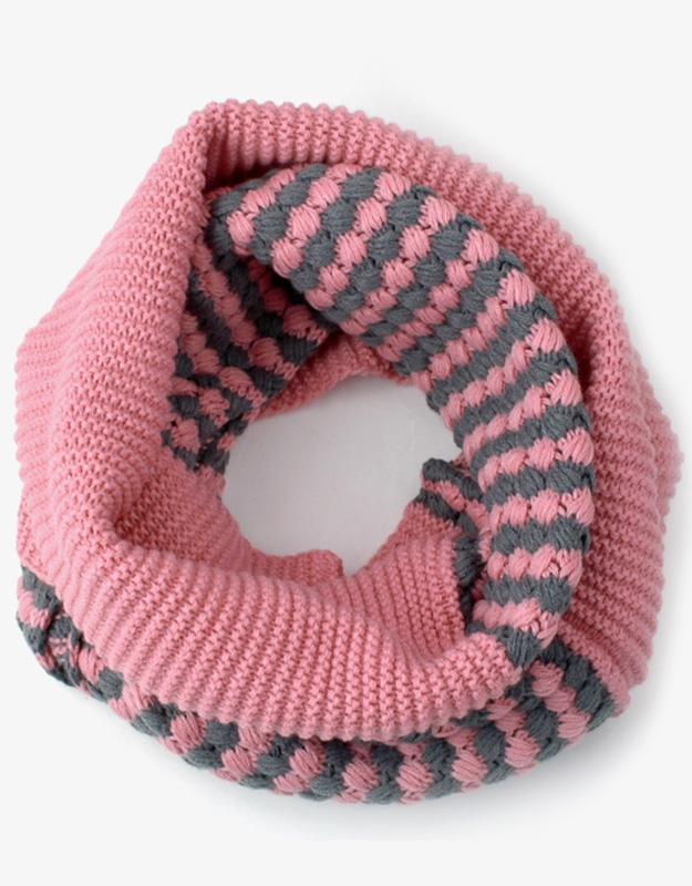 Lovely Dual Color Thick Warm Knit Women Loop Scarf