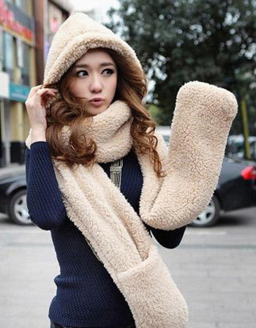 Solid Color Dual Layer Extra Warm Thick Wool Pocket Scarf