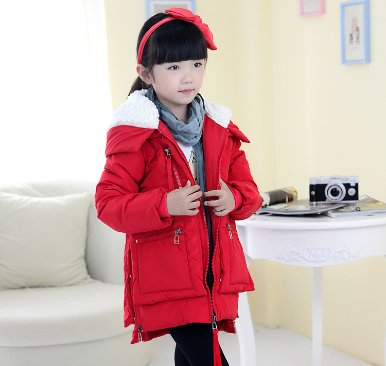 Kids boys girls duck down warm hoodie long winter coat jacket