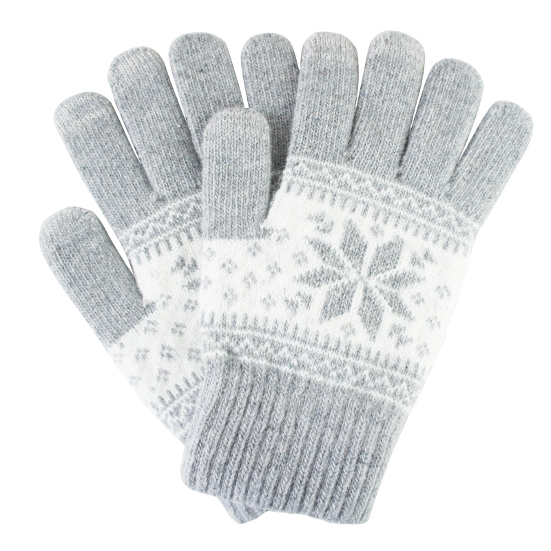 Winter Snowflake Unisex Warm Touch Screen Gloves For