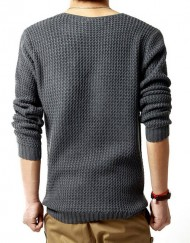 Men Vintage Knitwear Sweater Long Sleeve Round Neck