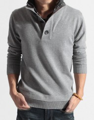 Knitwear Sweater Long Sleeve Double Colar Warm Pullover for Men