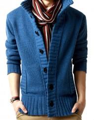 Men Open Front Long Sleeve Cardigan Wool Sweater Coat