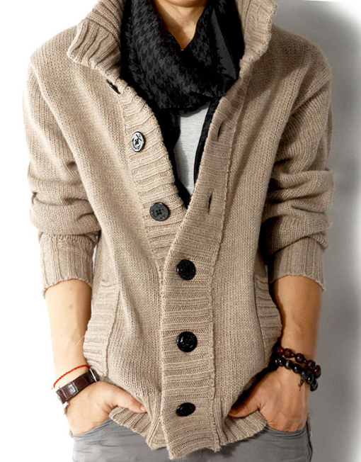 Men Open Front Long Sleeve Cardigan Wool Sweater Coat - Winter Clothes