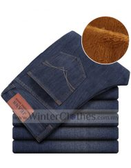 Men's Plus Size Winter Pants Extra Thick Denim Trouser With Inner Velvet Layer - Size 28 to 46