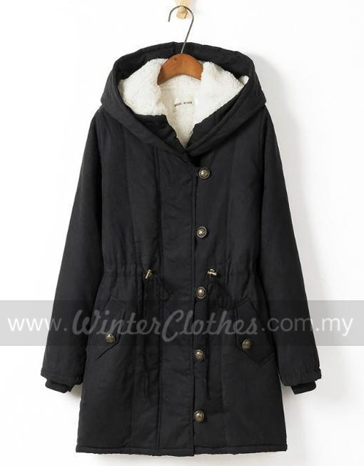 Women's Plus Size Winter Long Coat Hooded Inner Cashmere Layer Winter Jacket