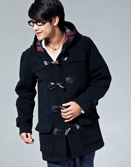Men's Wool Blend Hooded Duffle Toggle Coat Outwear - Winter Clothes