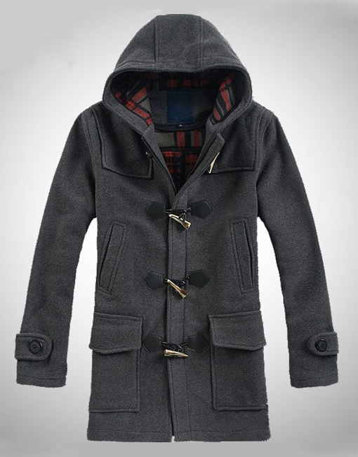 This fresh new toggle coat is a two tone heathered wool combination. It is subtle in the color contrast yet unmistakable. The zipper is a pop color the horn like buttons and leather tabs are a great finish.