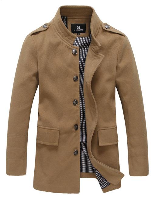 Men S Woolen Winter Mid Length Trench Coat Fashion Parka