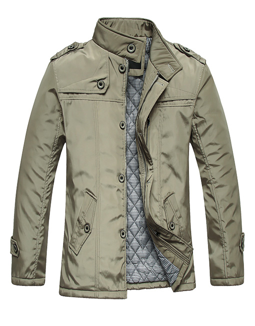 Men's Smart Casual Slim Fit Cotton Padded Winter Jacket ...