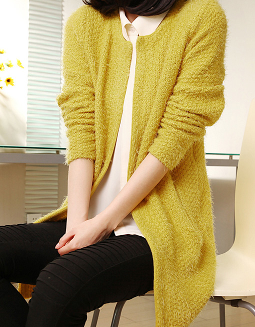 Knitting Pattern Mohair Jacket : Womens Mohair Knitting Cardigan Sweater Solid Color Korean Coat - Winter...
