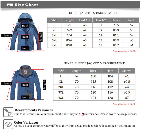 Fleece Jacket Size Chart - My Jacket