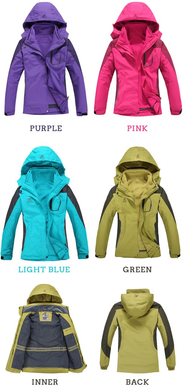 Women's Waterproof 3-in-1 Hiking Jacket with Inner Fleece Jacket ...