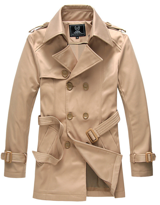 Mens Fashion Windbreaking Mid Length Trench Coat Winter