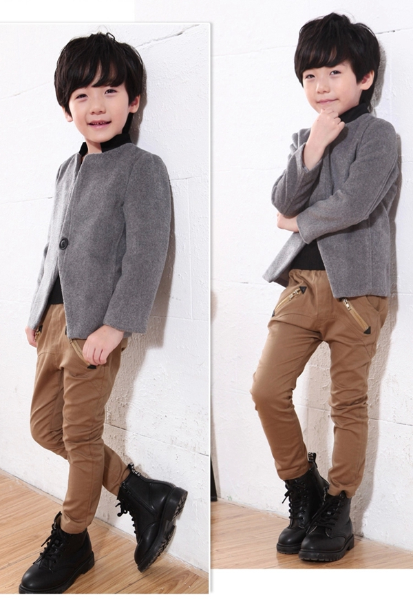 Boy S Stand Collar One Button Smart Casual Winter Coat