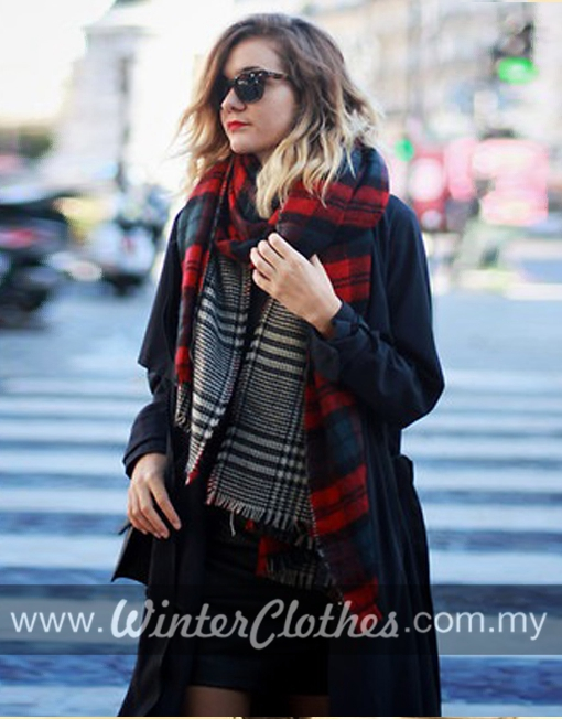 Oversize Red Plaid Double Side Cozy Scarf