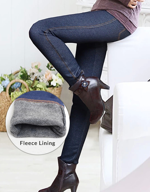 7f54a2ea285d2d Plus Size Women's Winter Slim Fit Fleece Lining Faux Denim Legging - Winter  Clothes
