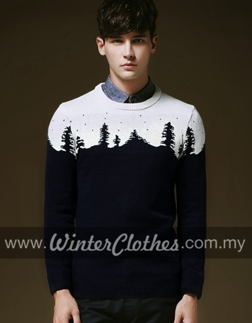 Men Classic Christmas Tree Snow Woolen Sweater Winter Clothes