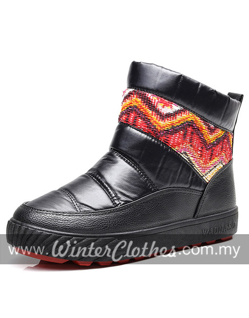 Womens Fashion Retro Print Non Slip Snow Boots With Fully Plush