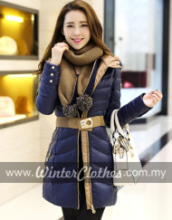 women-elegant-slimfit-mid-long-down-jacket-winter-coat-with-scarf-belt-blue