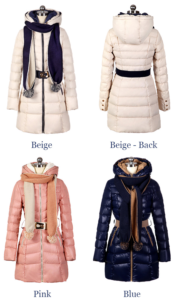 30cdd545d Women Elegant Slimfit Mid Long Down Jacket Winter Coat with Scarf ...