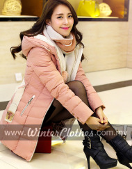 women-elegant-slimfit-mid-long-down-jacket-winter-coat-with-scarf-belt-pink