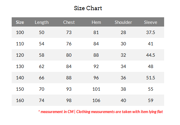 BOYS SHIRT SIZES: