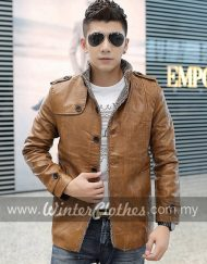 PU Leather Fleece Lining Winter Biker Jacket