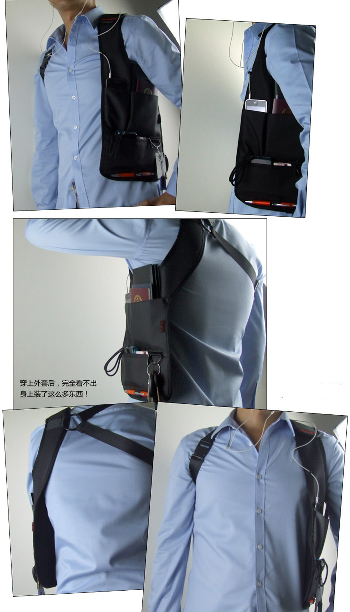 travellers-safety-hidden-underarm-pouch-handphone-bag-model-show