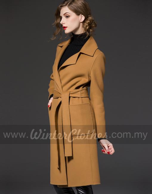 Women Winter Woolen Long Coat Simple Stylish Europe Fashion Winter