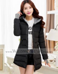 Women Mid Length Cotton Padded Winter Jacket
