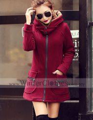 Women Fleece LIning Hooded Winter Coat