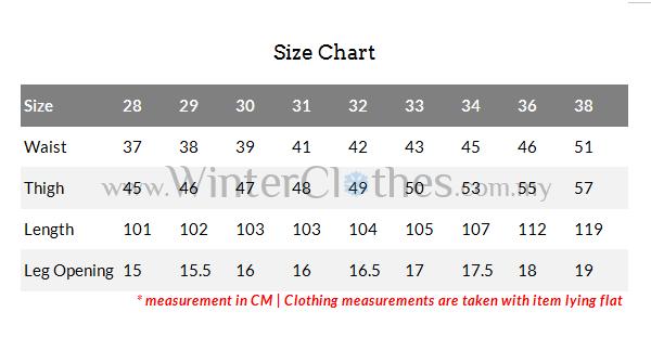 Men Winter Fleece Lining Skinny Jeans Size Chart Winter Clothes