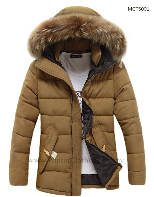 Men Big Fur Trimmed Hooded Cotton Padded Winter Jacket - Winter ...