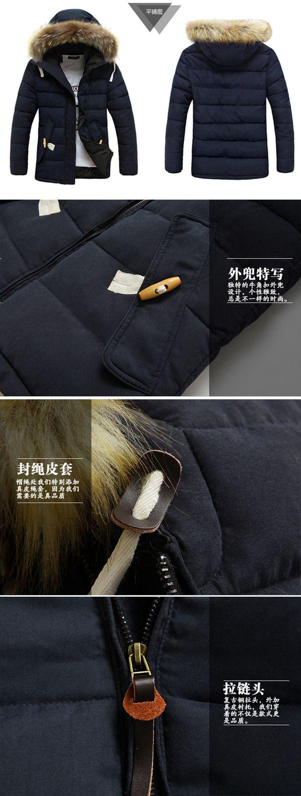 Men Big Fur Trimmed Hooded Cotton Padded Winter Jacket