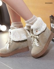 Cute Women Winter Boots with Shearling Collar