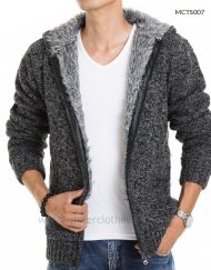 Men'S Hooded Solid Color Thick Sweater Korean Men' S Fashion Cardigan