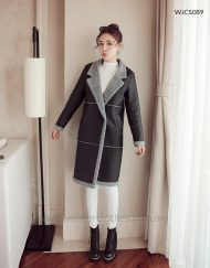 PU Leather Fleece Lining Winter Long Coat