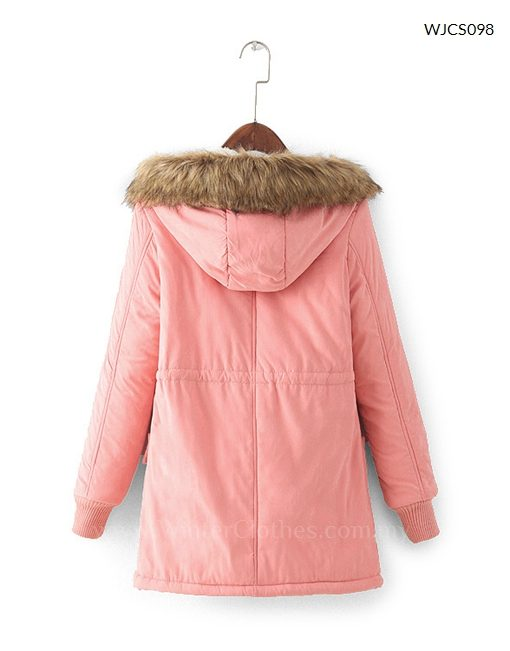 Military Winter Jacket with Fur Trimmed Hoodie