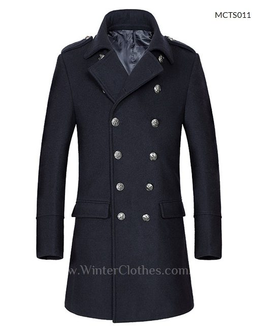 Men Woolen Long Coat Trench Coat