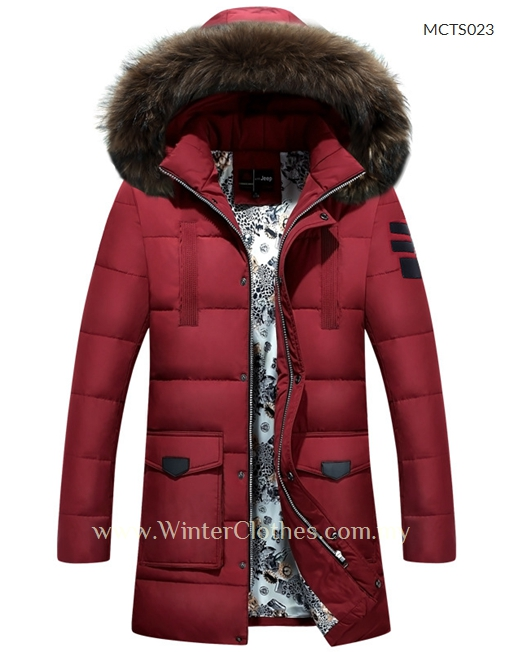 hot-selling cheap clients first on feet images of Men Mid Length Duck Down Fur Trim Winter Coat