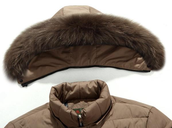 Men Mid Length Duck Down Fur Trim Winter Coat