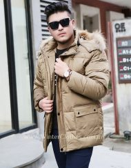 Men Plus Size Winter Down Jacket Hooded with Fur Trimmed