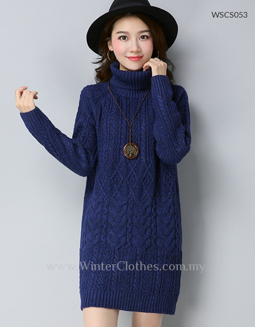 3d86b9744ff Women Roll Neck Cable Knit Mid Length Winter Jumper - Winter Clothes