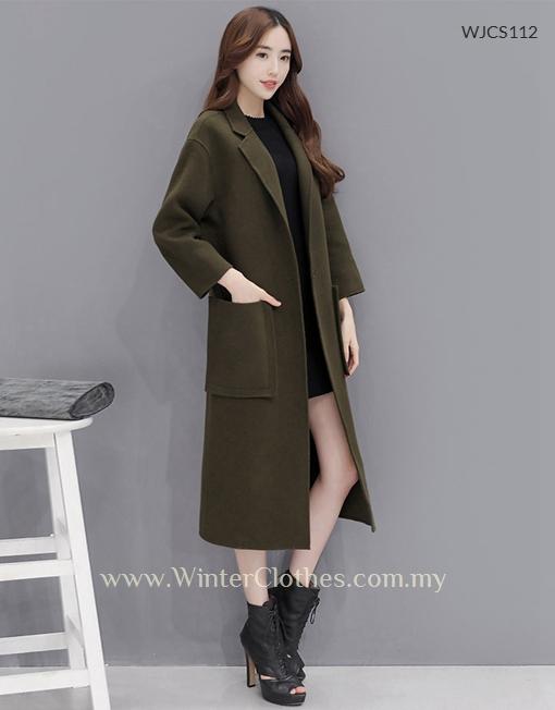 94ca03abb Women Single Breasted Woolen Blended Long Winter Trench Coat