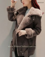 Women Suede Leather Fleece Lining Winter Jacket